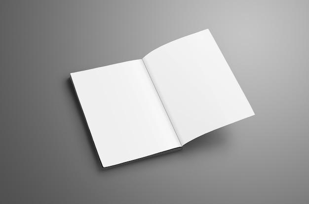 Elegante catalogo in bianco a4, (a5) con morbide ombre realistiche isolate su superficie grigia. brochure aperta nell'ultima pagina e utilizzabile per il tuo design.