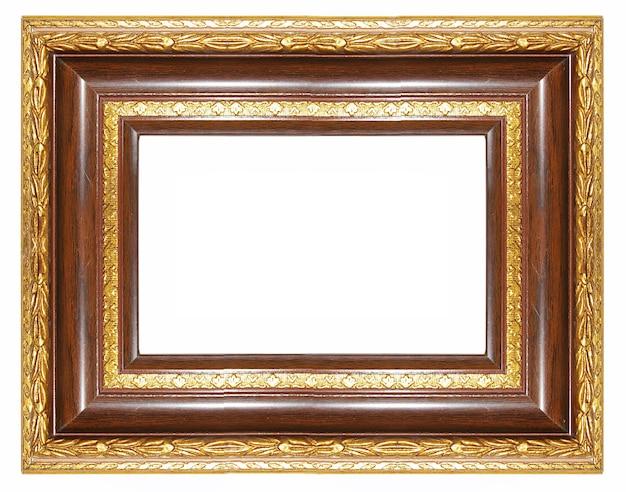 Elegante cornice vuota con bordi dorati isolati su bianco