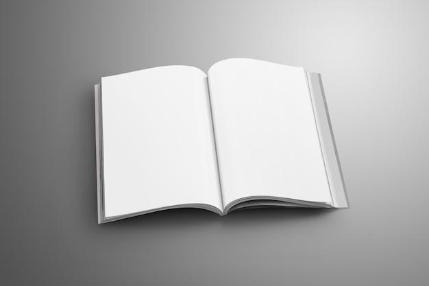 Elegante catalogo a4, (a5) aperto in bianco con ombre morbide e realistiche isolate su superficie grigia.