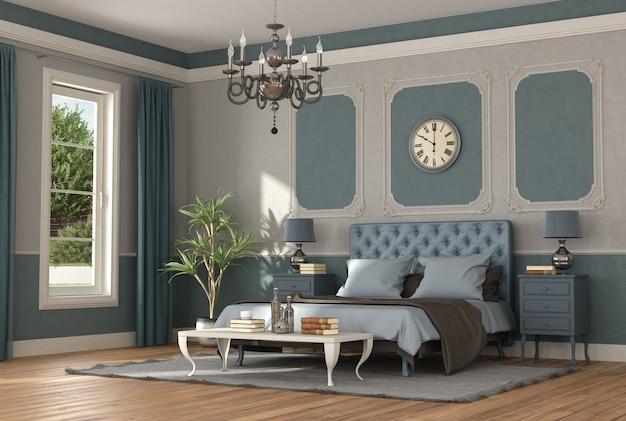 Elegante camera matrimoniale blu e grigia