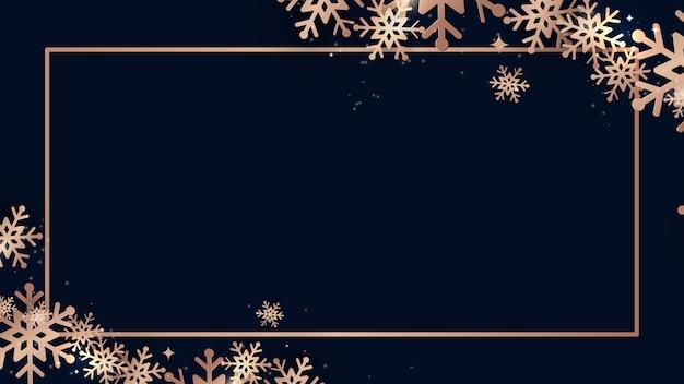 Elegante natale e brillanti fiocchi di neve d'oro con cornice rettangolare banner. illustrazione vettoriale