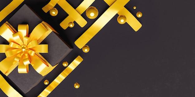 Elegante intestazione con scatola regalo nera con nastri dorati e sfere intorno con spazio per il testo