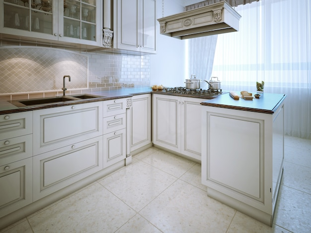 Elegante cucina in stile classico con bar