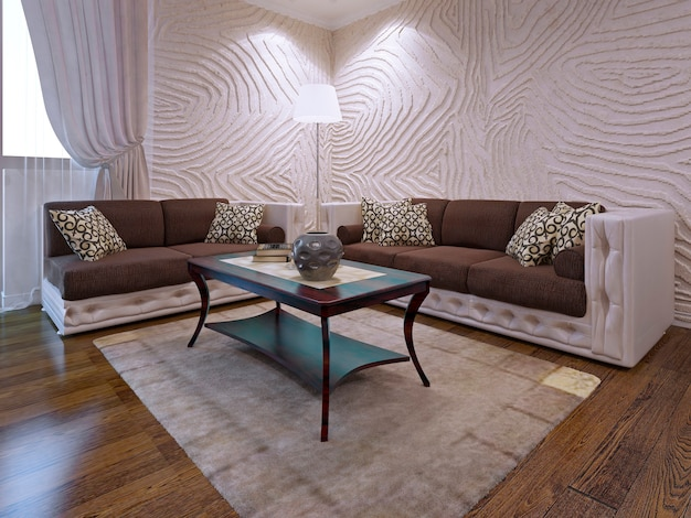Elegante set di mobili per soggiorno. due divani marroni con parti in pelle. tavolo in legno di mogano. rendering 3d