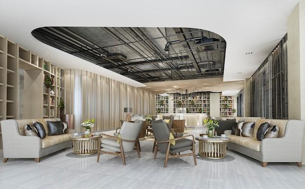 Elegante area lounge lobby con bancone e scaffale