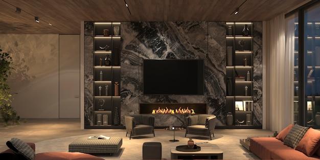 Interni eleganti e lussuosi soggiorno aperto con illuminazione notturna, parete tv in marmo, libreria, pavimento in pietra, soffitto in legno. 3d rendono l'illustrazione design luminoso appartamento colore con camino.