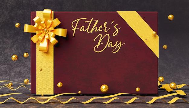 Elegante biglietto di auguri in velluto con la parola fathers day in marrone con sfere dorate e fiocchi intorno