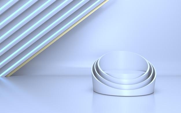 Elegante palco bianco per l'esposizione del prodotto con luce al neon bianca