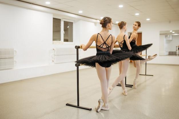 Eleganti giovani ballerine pone alla sbarra in classe