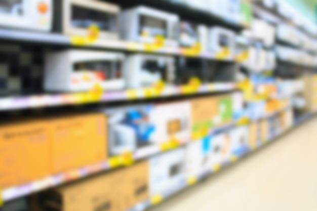 Grande magazzino elettronico sfocato sfondo