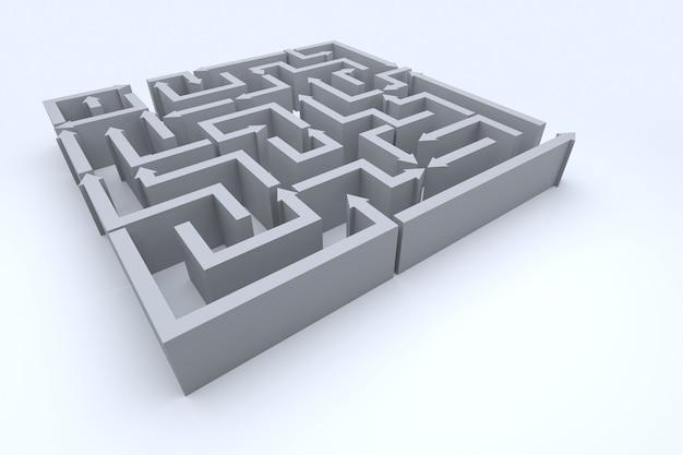 Una vista in elevazione del labirinto di frecce. rendering 3d