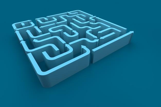 Una vista in elevazione del labirinto di frecce blu. rendering 3d