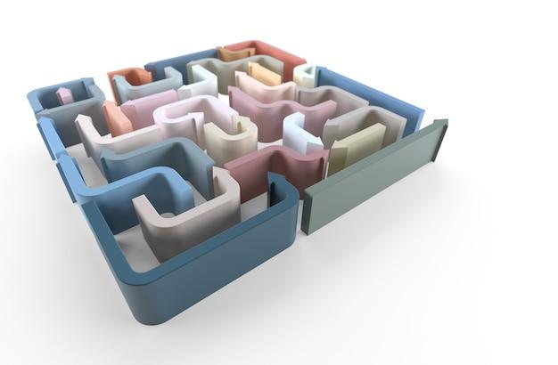 Una vista in elevazione del labirinto di frecce colorate. rendering 3d