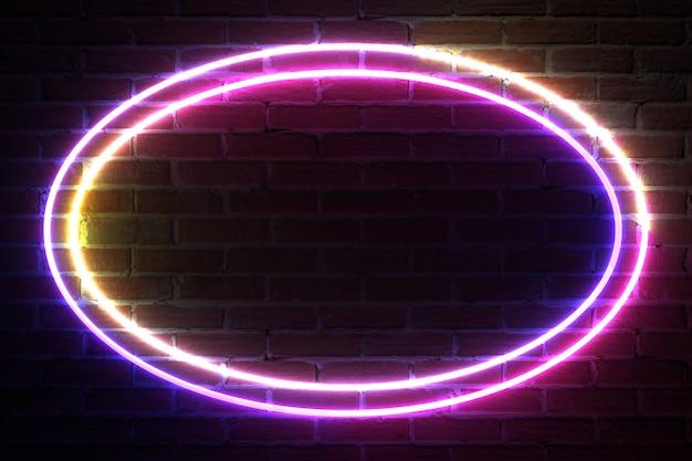 Cornice di luce al neon ellittica per modello e layout davanti al muro di mattoni. rendering 3d
