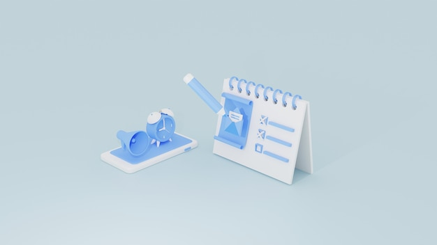 Campagna di email marketing per fare la lista per il concetto di scedule del piano dell'organizzatore