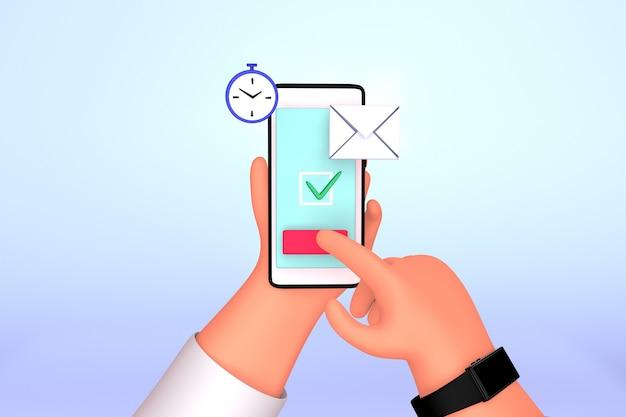 Servizio di posta elettronica e illustrazione di concetto di marketing in entrata aziendale.