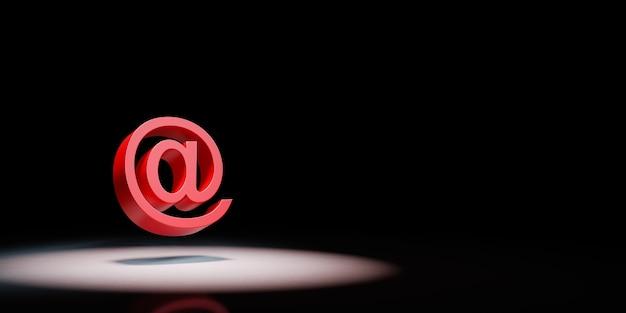 Simbolo di posta elettronica sotto i riflettori isolato