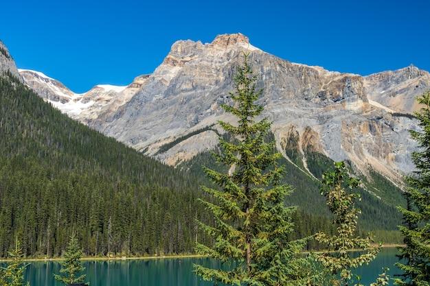 Emerald lake in una giornata di sole estivo con michael peak mountain sullo sfondo. parco nazionale di yoho, montagne rocciose canadesi, columbia britannica, canada.