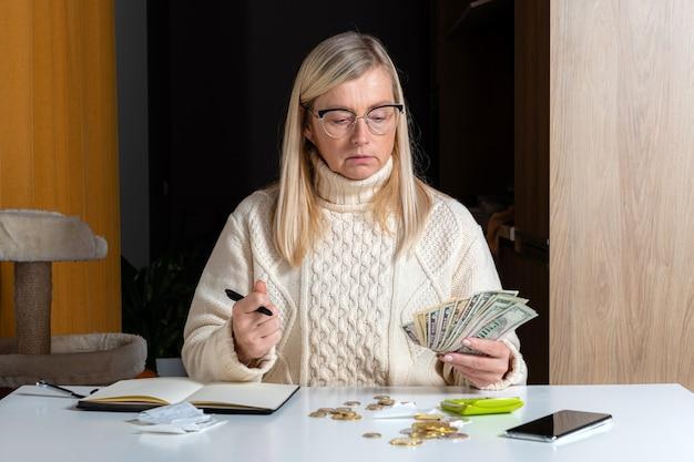 Donna freelance emotiva che calcola il budget in ufficio a casa, entrate e uscite di spesa, concetto di lavoro da casa