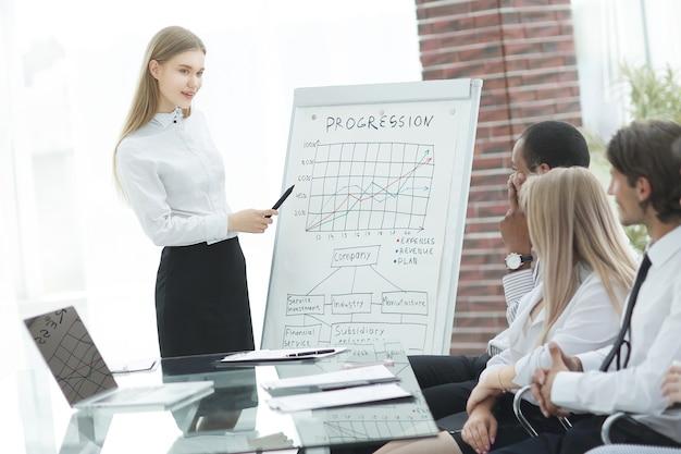 Il dipendente fa una relazione sui risultati dell'azienda