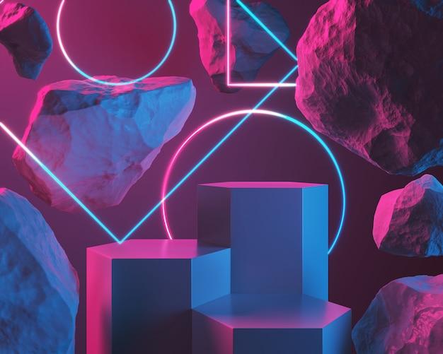 Fase o podio astratti vuoti di scena della luce e della pietra per il fondo dell'esposizione del prodotto, rappresentazione 3d.