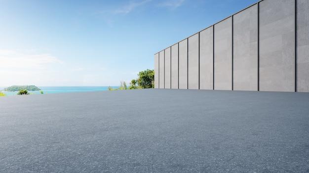 Pavimento vuoto dell'asfalto e parete grigia. rendering 3d della piazza vista mare con sfondo cielo sereno.