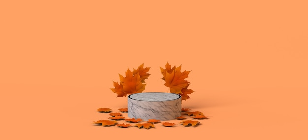 Piedistallo di marmo vuoto stagione autunnale con foglie secche illustrazione 3d copia spazio