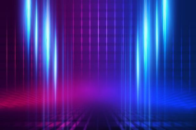Scena di sfondo vuoto. riflessione di strada buia su asfalto bagnato. raggi di luce al neon nel buio, forme al neon, fumo. sfondo di uno spettacolo teatrale vuoto. astratto sfondo scuro