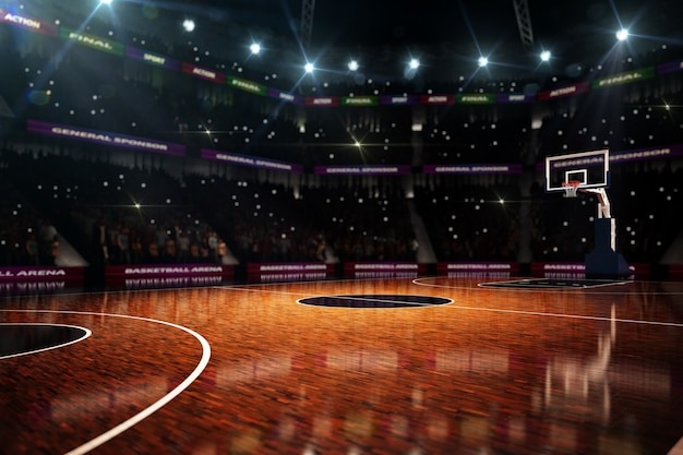 Rendering 3d di campo da basket vuoto