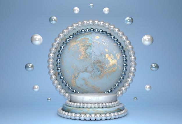 Vuoto bellissimo podio cilindro blu con motivo in marmo oro e bordo decorazione perla e cerchio su sfondo blu pastello.