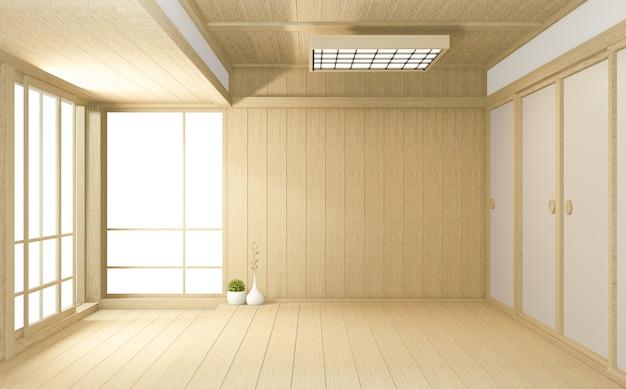 Grande stanza vuota stile tropicale giapponese. rendering 3d