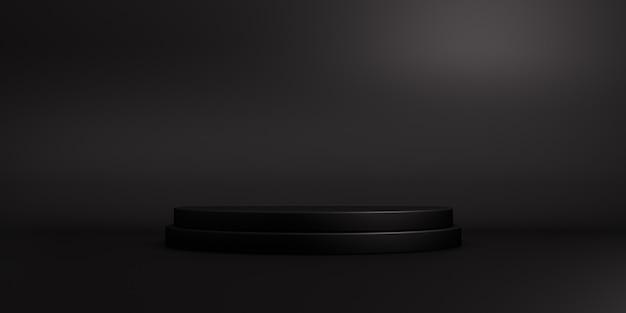 Podio nero vuoto per display prodotto. rendering 3d.