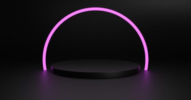 Podio nero vuoto per prodotto da esposizione. rappresentazione 3d.