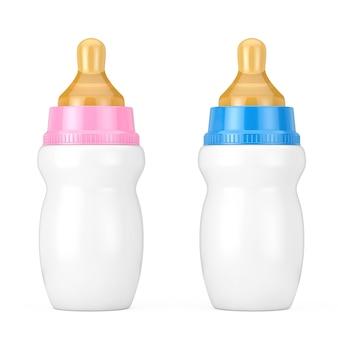 Vuoto in bianco rosa e blu baby bottiglie di latte con ciuccio mock up su uno sfondo bianco. rendering 3d