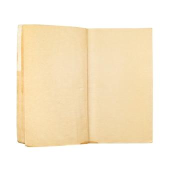 Libro invecchiato giallo in bianco vuoto isolato
