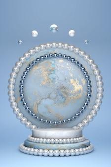 Podio cilindro vuoto effetto marmo blu con motivo oro e bordo e cerchio decorazione perla bianca su sfondo blu pastello.