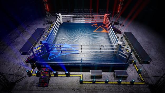 L'arena di boxe vuota in attesa di un nuovo round d rende l'illustrazione