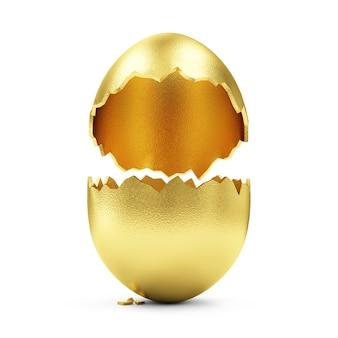 Grande uovo dorato rotto vuoto isolato