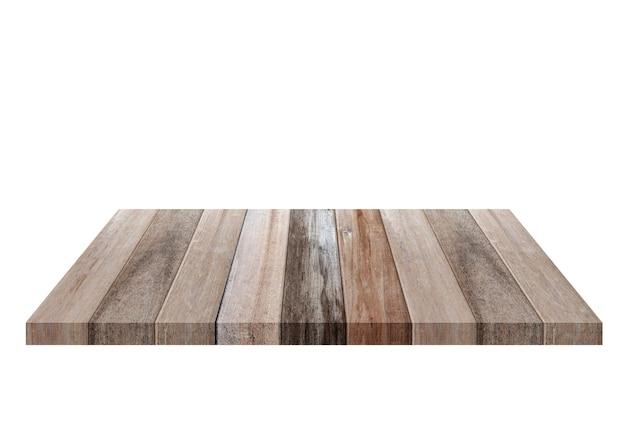 Scaffale di legno vecchio marrone vuoto isolato su priorità bassa bianca. per il montaggio del tuo prodotto