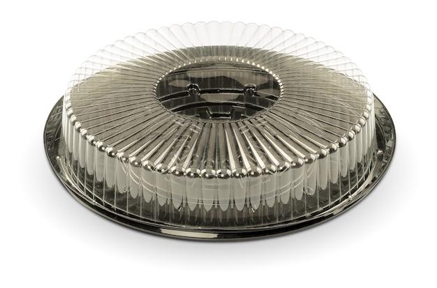 Scatola di torta vuota isolata su bianco con il percorso di residuo della potatura meccanica