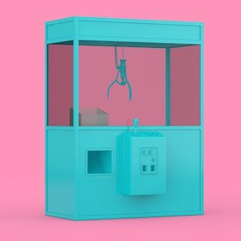 Vuoto carnevale giocattolo blu artiglio gru arcade macchina in stile bicromia su uno sfondo rosa. rendering 3d