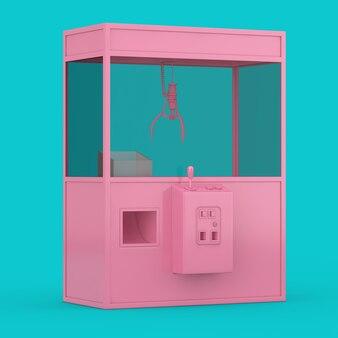 Vuoto carnevale rosa giocattolo artiglio gru arcade macchina in stile bicolore su sfondo blu. rendering 3d