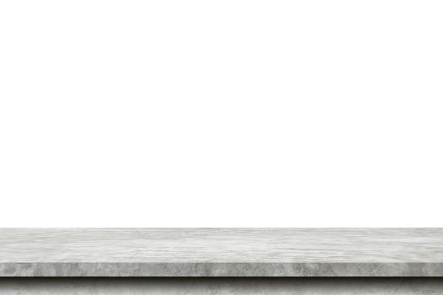 Tabella vuota del cemento su fondo bianco isolato con lo spazio della copia e il montaggio dell'esposizione per il prodotto.