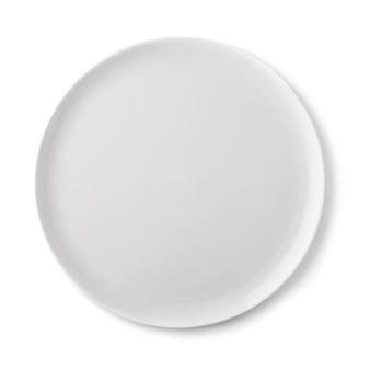 Piatto in ceramica vuoto di colore bianco vista dall'alto di un oggetto isolato
