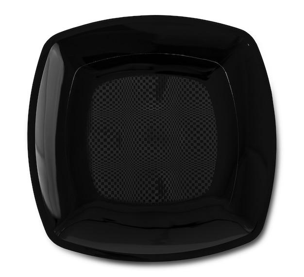 La piastra nera rotonda in ceramica vuota isolata su bianco con il percorso di residuo della potatura meccanica e l'ombra