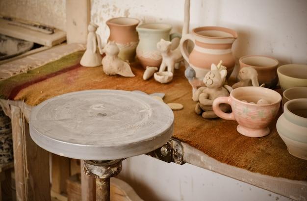 Un cerchio vuoto, dove il vasaio modella il prodotto in primo piano. potter studio creativo. mago del posto di lavoro ceramica crock