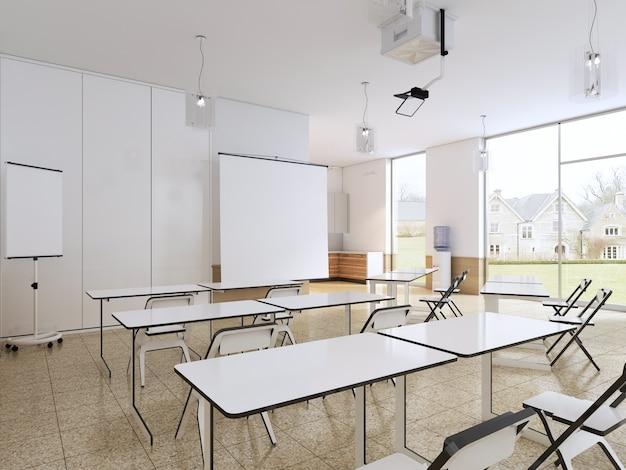 Aula vuota per studenti con attrezzature e cucina moderne. rendering 3d.