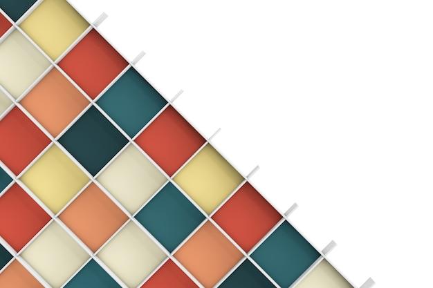Primo piano estremo di scaffali colorati vuoti. rendering 3d