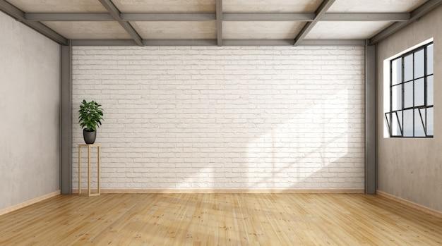 Loft contemporaneo vuoto con un muro di mattoni, pavimento in legno e travi in ferro
