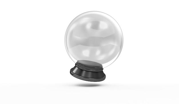 Sfera di cristallo vuota su priorità bassa bianca